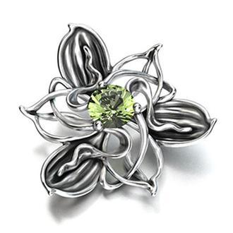 Кулон Орхидея с натуральным хризолитом, серебро 925 пробы