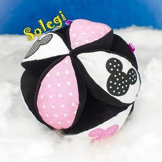 """Плюшевый мяч ТАКАНЕ 🌞""""МИККИ"""" для малыша.Мяч тренажер МОНТЕССОРИ розовый  для ребенка. Мяч ПАЗЛ"""