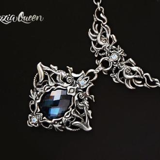 Серебряный кулон со шпинелью голубого цвета
