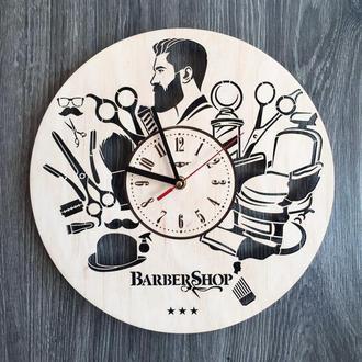 Дизайнерские настенные часы из дерева «Барбершоп»
