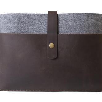 Чехол для Macbook из фетра и натуральной кожи. 03024/коричневый