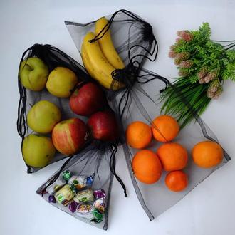 """Набор эко мешочков """"Black"""", эко пакеты, мешки для продуктов, эко мешки из сетки"""