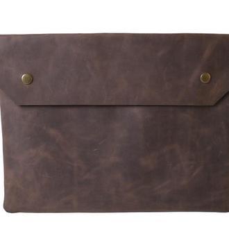 Кожаный чехол для Macbook на кнопках. 03025/коричневый