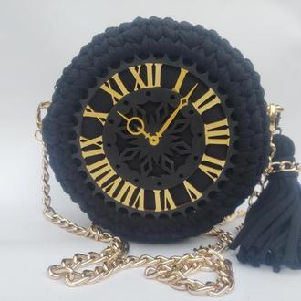 Сумка круглая, сумка вязаная, сумка плетеная, летняя сумка, сумка-кругляшка