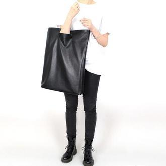 Большая кожаная сумка клатч Big Thing, черная сумка из мягкой кожи в минималистичном стиле