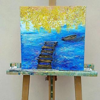 Картина «Старый мостик», 35х35