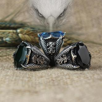 Кольцо Перстень когти с черным красным синим камнем из серебра ручной работы