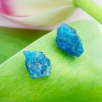 Серьги гвоздики с кристаллами синего апатита Минимализм Подарок девушке  (модель № 660) JK jewelry