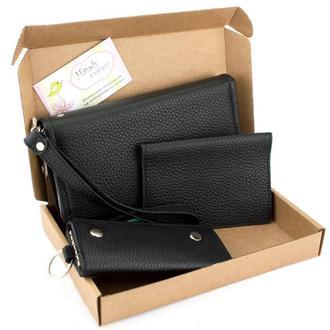 Подарочный набор №33: Клатч Crez-02 + обложка на паспорт + ключница (черный)