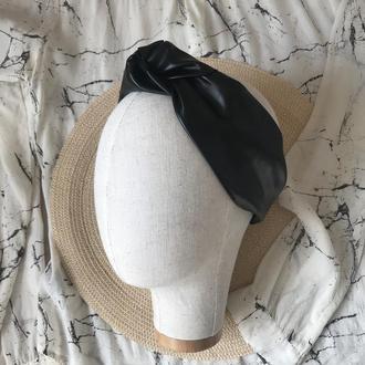 Черная кожаная/эко-кожа повязка на голову/для волос/тюрбан/чалма с узелком
