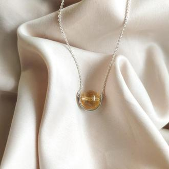 Серебряное колье с натуральным жёлтым цитрином, Минималистичная подвеска, Подарок девушке