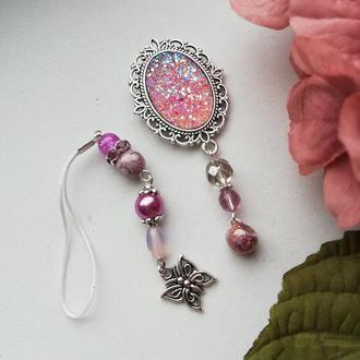 Набор для вышивки фиолотеовый: магнит и маячок