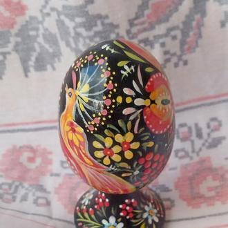 """Пасхальное деревянное яйцо """"Птичка"""", ручная роспись. Петриковская роспись."""