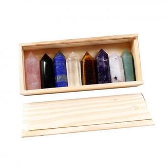 Набор из 8 кристалов камней в деревянной шкатулке