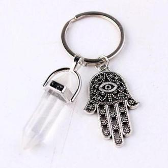 Брелок для ключей защитный с рукой Фатимы и прозрачным кристаллом
