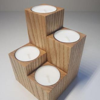 Набор деревянных подсвечников ручной работы