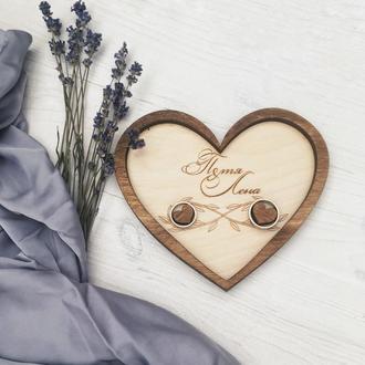 Деревянная тарелочка для колец. Свадебный декор в стиле рустик. Подарок невесте.