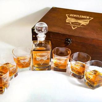 Комплект скляний для віскі з гравіюванням Gentlemen в подарунок коханому чоловікові