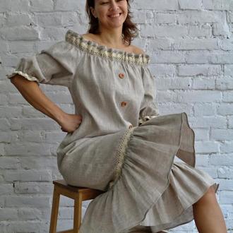 Платье из натурального льна  в этническом стиле