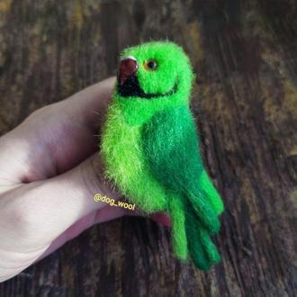 Войлочная брошь объёмная ожереловый попугай