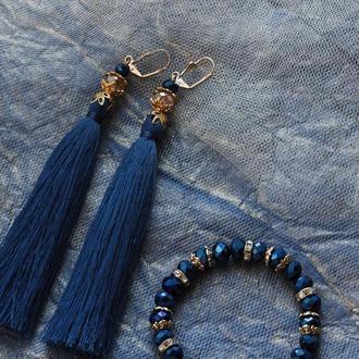 Набор: серьги -кисточки и браслет