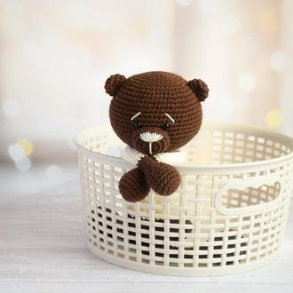 Вязаный мишка. Эко-игрушка. Подарок новорождённому. Первая игрушка малыша.