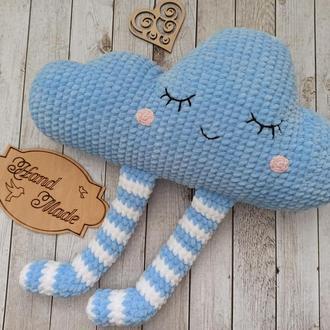 Плюшевая подушка облако, вязаная подушка-игрушка, вязаная подушка
