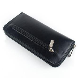 Женский кожаный кошелек на молнии (черный)