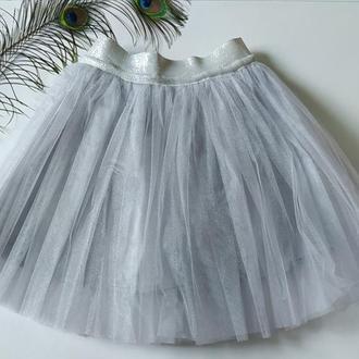 Юбка пачка, фатиновая юбка саетло серая
