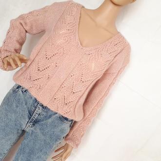 вязаний ажурний пуловер кольору пудра
