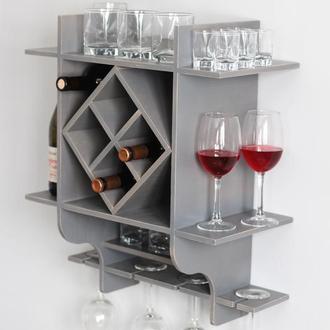 Стеллаж для бутылок и бокалов, полка деревянная для вина