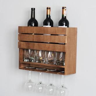 Винная полочка для бокалов в скандинавском стиле