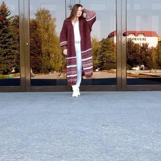 """Пальто вязаное """"Francesca"""", кардиган oversize большой размер"""