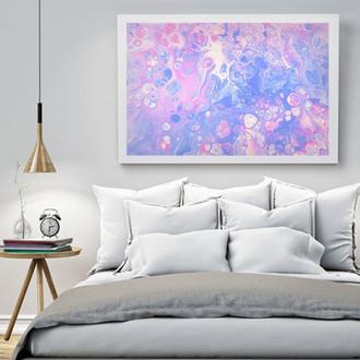 """Интерьерная картина жидким акрилом """"Розово-сиреневая абстракция"""""""