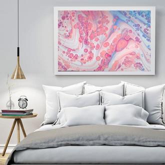 """Інтер'єрна картина рідким акрилом """"Рожево-блакитна абстракція"""""""