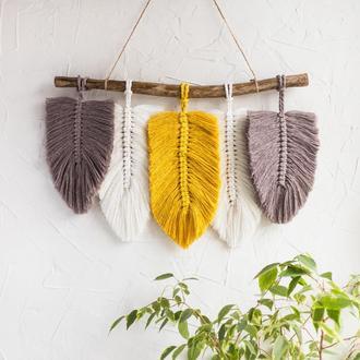 Макраме панно перья / листья на стену / декор для дома