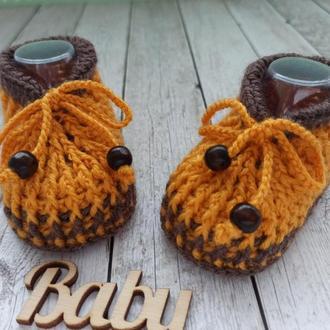 Вязаные детские пинетки, пинетки носочки, пинетки ботиночки