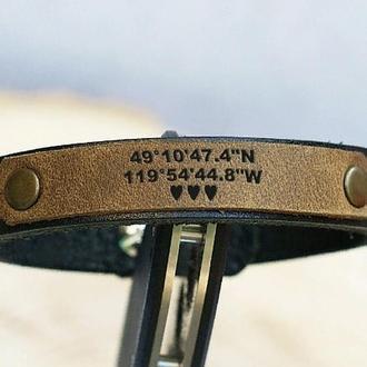Браслет кожаный с гравировкой, любая надпись