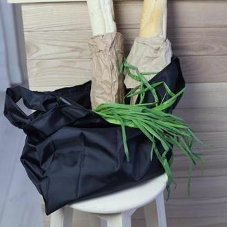Многоразовая сумка шоппер / сумка для покупок / на пляж / на природу черная