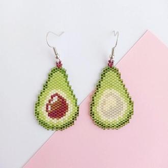 Серьги авокадо | Ассиметричные серьги