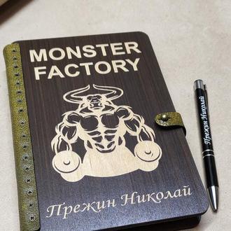 Деревянный блокнот с Вашей гравировкой, блокнот с ручкой, блокнот
