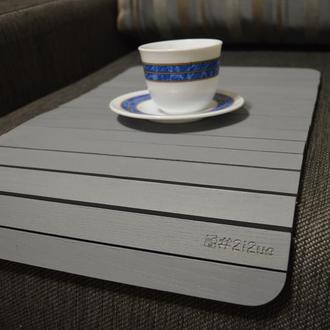Деревянная накладка-столик на подлокотник дивана(серый)