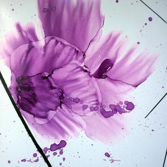 Интерьерная картина декор абстракция цветы алкогольные чернила Экстраверт