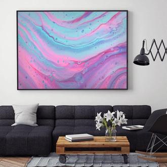 """Интерьерная картина жидким акрилом """"Розовый морской пейзаж"""""""