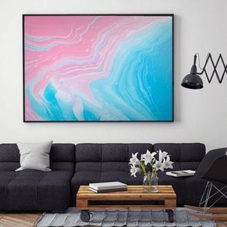 """Интерьерная картина жидким акрилом """"Розово-голубой океан"""""""