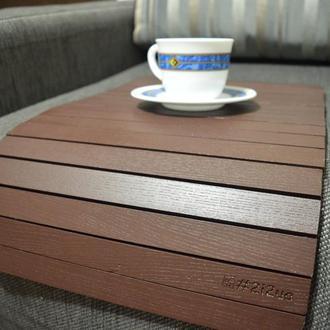 Деревянная накладка-столик на подлокотник дивана (коричневый шоколад)