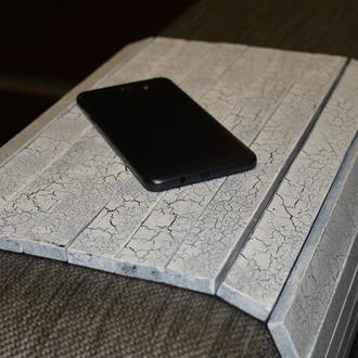 Деревянная накладка-столик на подлокотник дивана (античный белый)