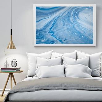 """Интерьерная картина жидким акрилом """"Голубая абстракция"""""""