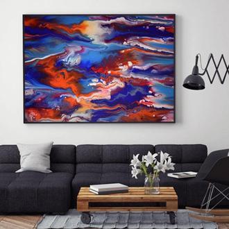"""Интерьерная картина жидким акрилом """"Красно-синяя абстракция"""""""