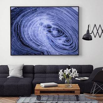 """Интерьерная картина жидким акрилом """"Темно-синяя абстракция"""""""